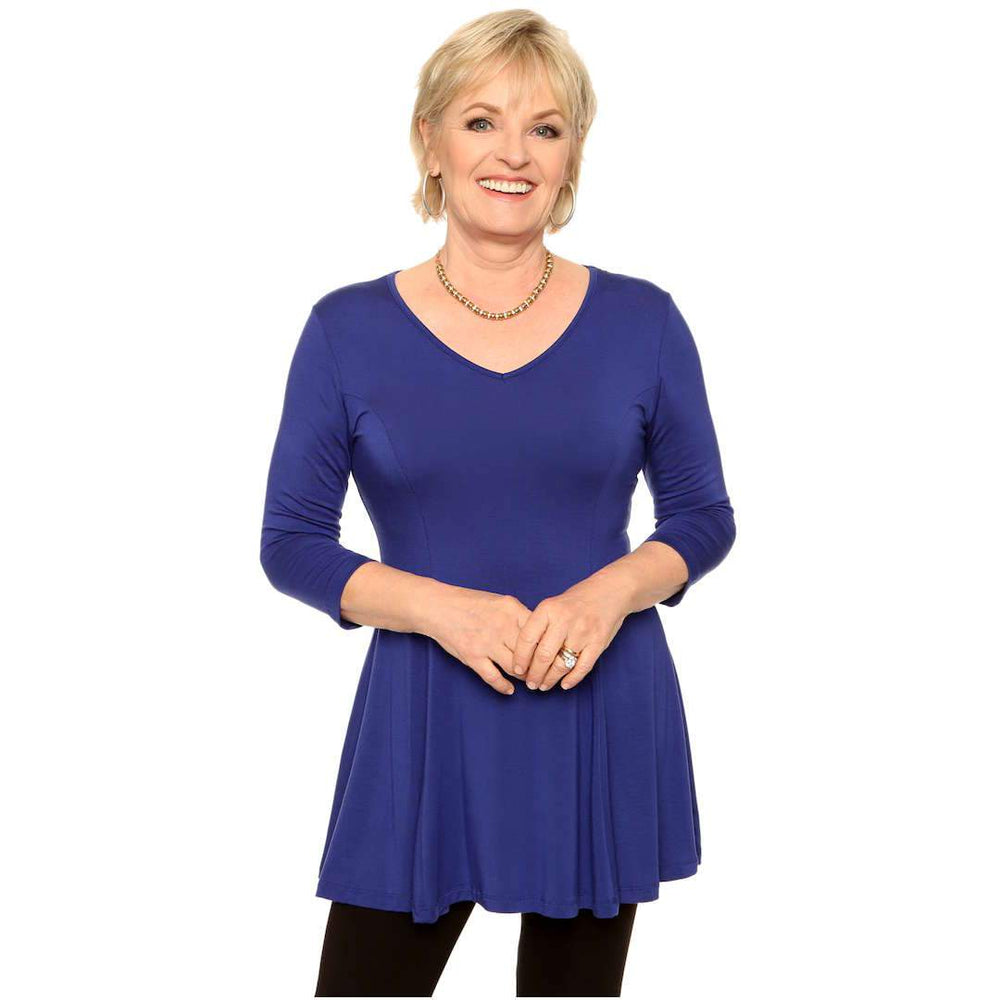 V-neck fit and flare women's top in royal blue