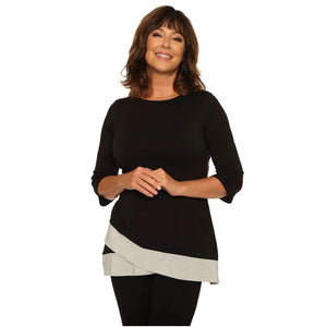Classy Two-Toned Woman's Top Tops Black-Gray / S Covered Perfectly