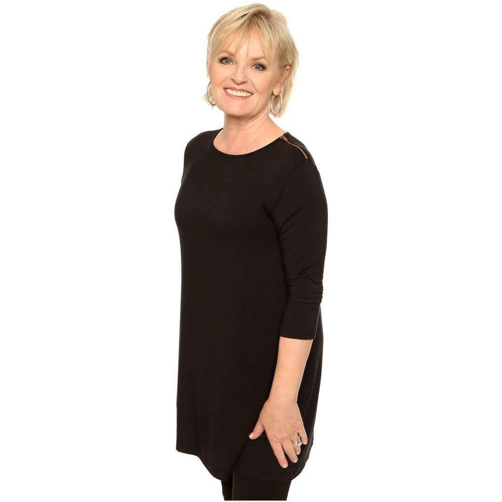 Longer length tunic stylish zip Tops Black / S Covered Perfectly