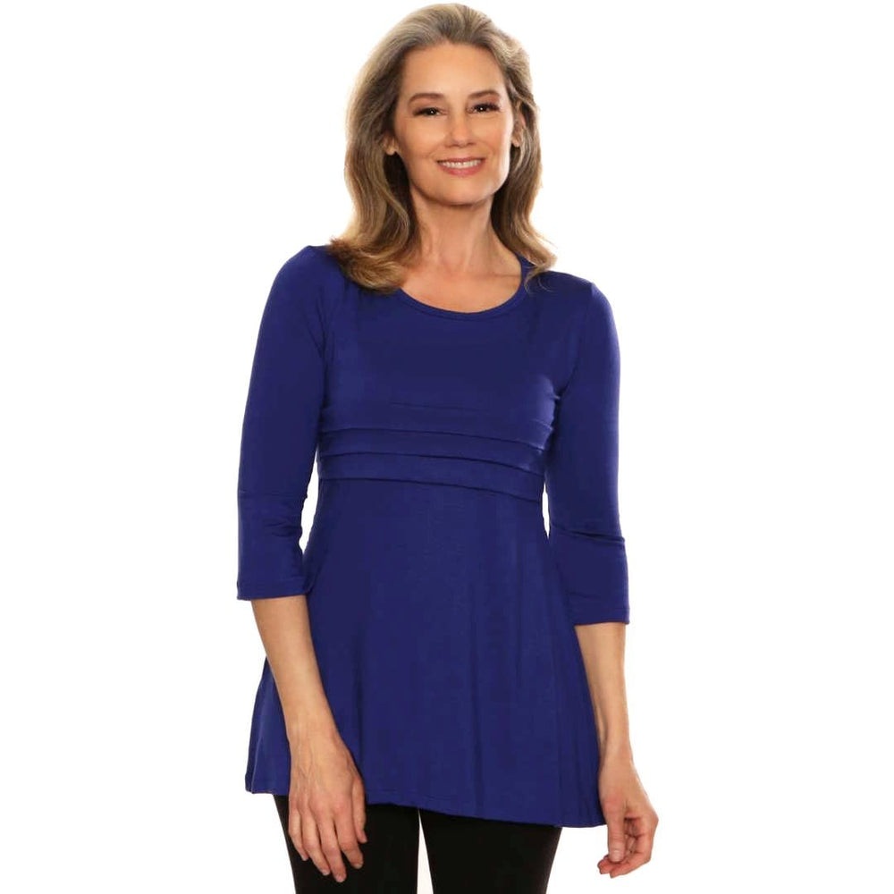 Empire waist womens top with featured bands in royal blue
