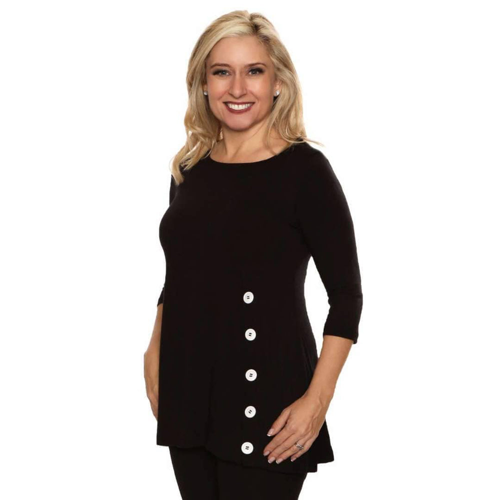 Black a-line women's top with slimming buttons