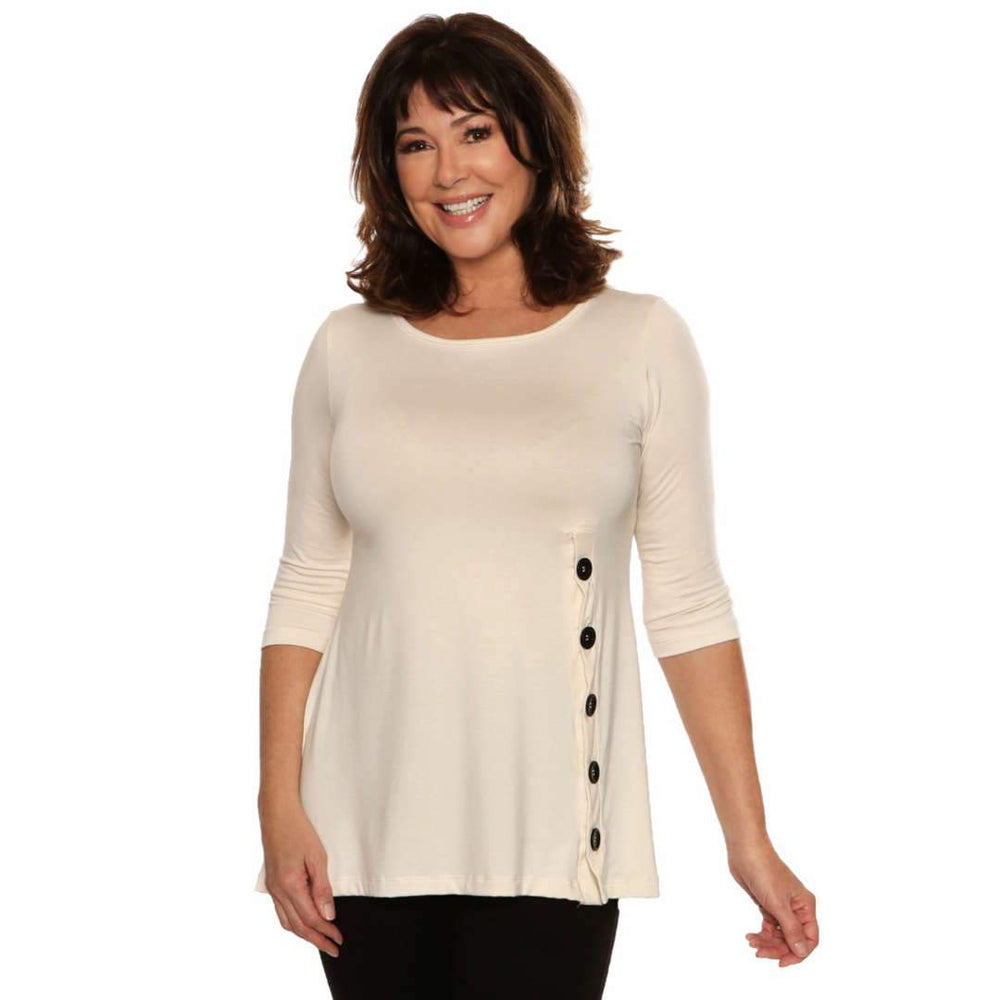 Ivory a-line women's top with slimming buttons