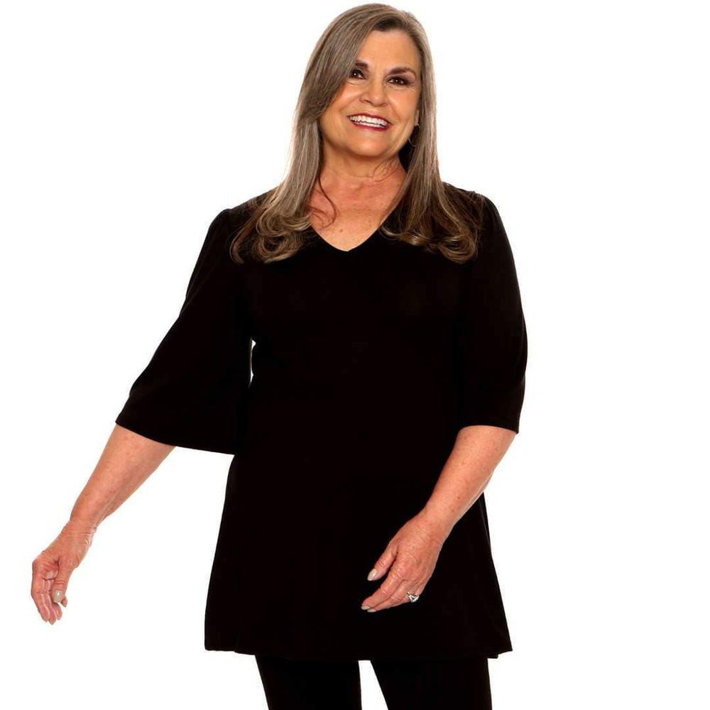 black bell sleeved women's top with empire waist