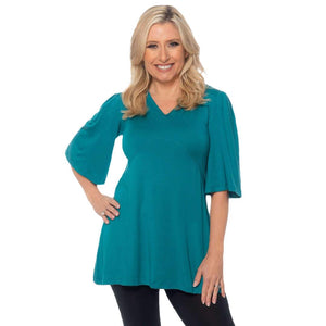V-Neck Empire waist womens top Tops Teal / S Covered Perfectly