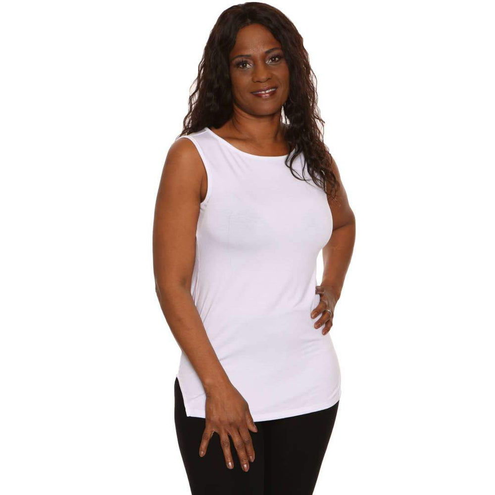 Longer Length Boat Neck Tank Tops White / S Covered Perfectly