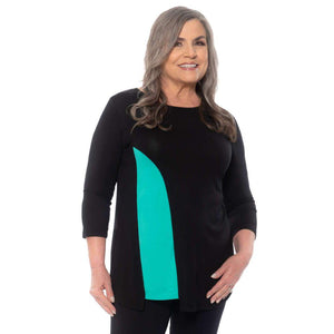 Flattering insert on this top Tops Black-Aqua / S Covered Perfectly