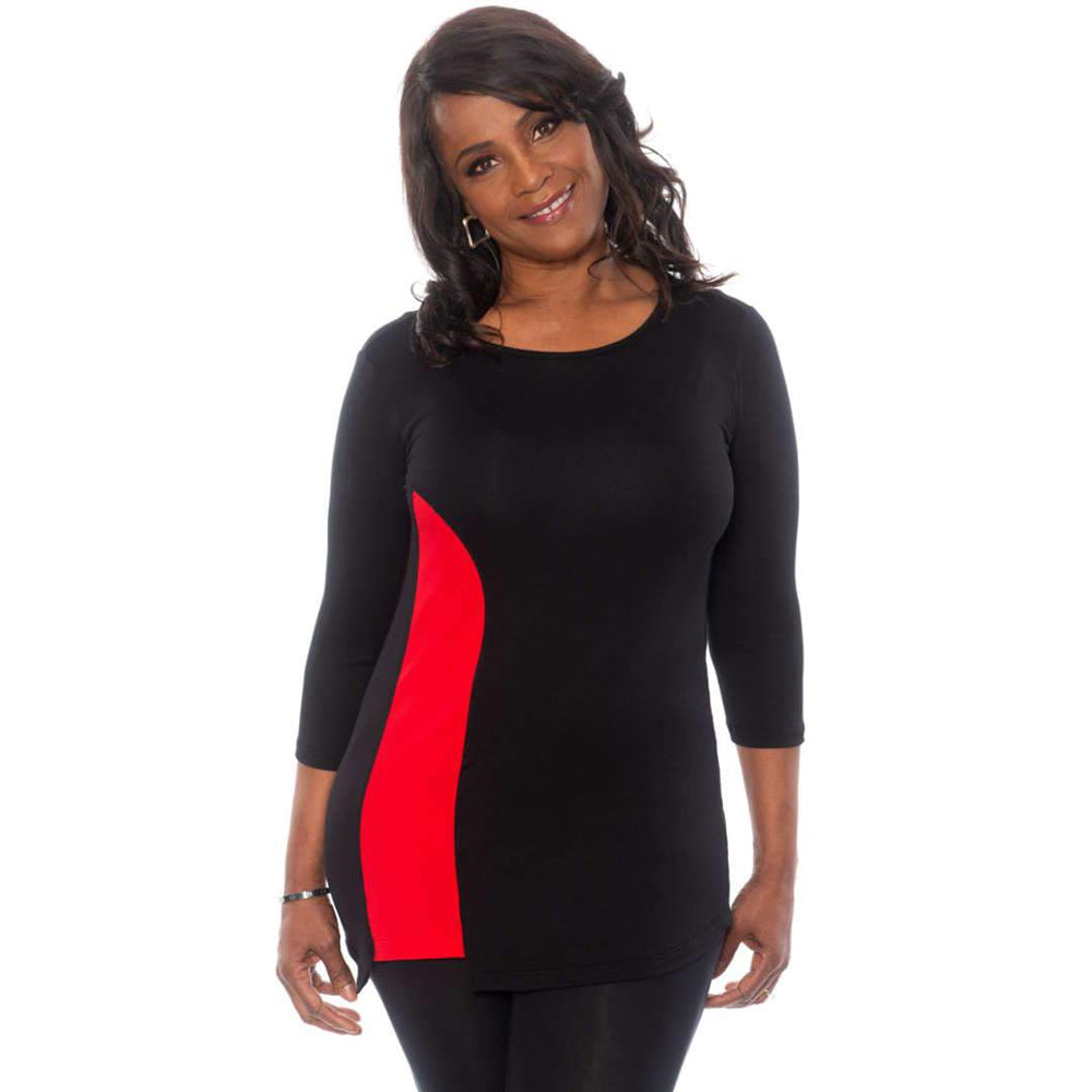 Flattering insert on this top Tops Black-Red / S Covered Perfectly