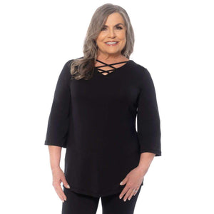 black a-line women's top with criss-cross neckline