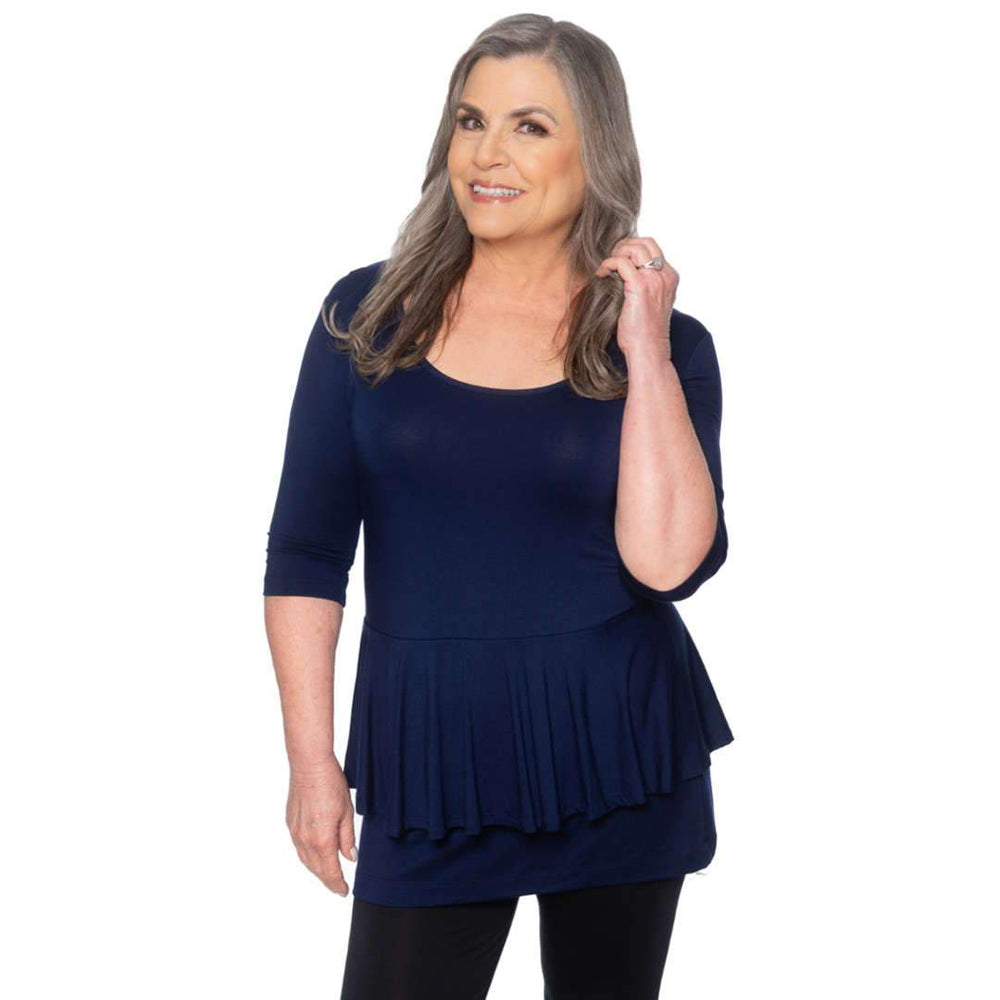 Navy Peplum women's top