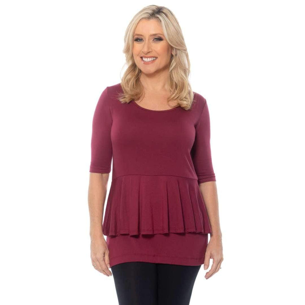 Peplum womens top Tops Wine / S Covered Perfectly