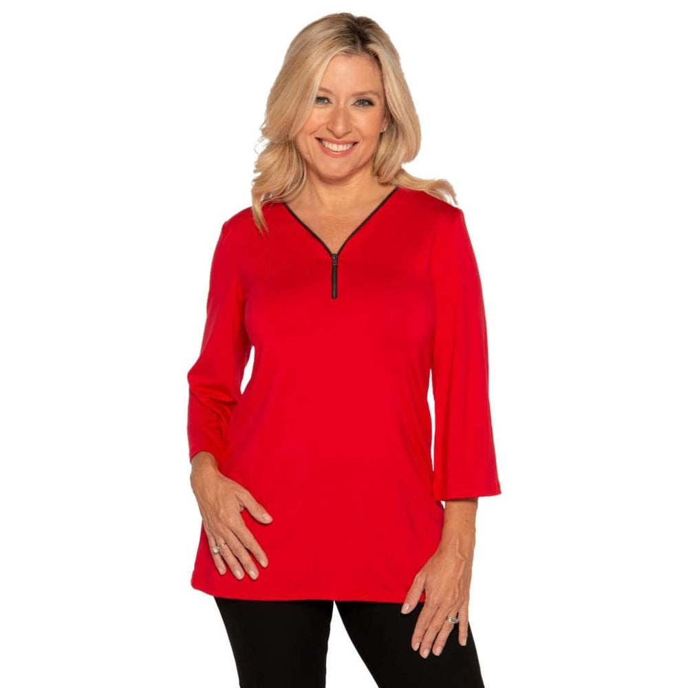 Flattering A-line womens top with zip front