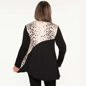 Animal Print/black flare bottom women's top Tops Covered Perfectly