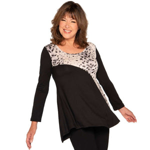 Flattering fit and flare women's top with snow leopard insert