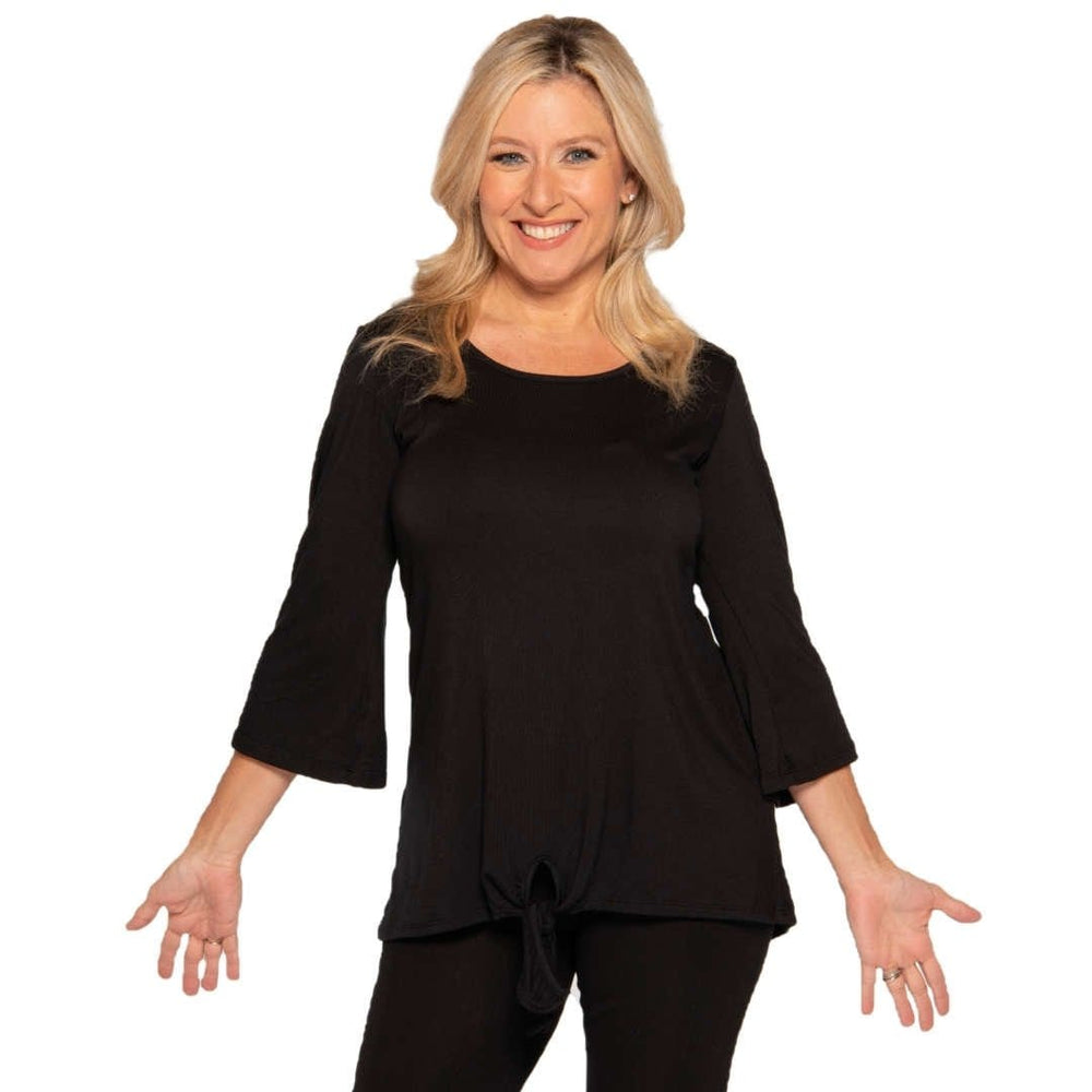 Black knotted bottom women's top