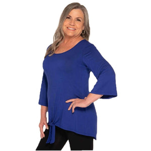 Featured knotted bottom on this women's top in royal blue