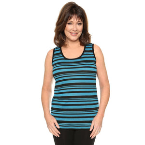 Simple Tank Patterned Tops Blue-Black / S Covered Perfectly