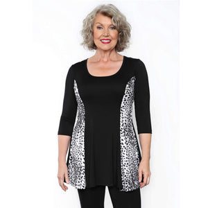 Fit and flare women't top with snow leopard insert on sale