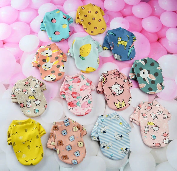 Cartoon Print Cute Pet Clothes for Small Dogs