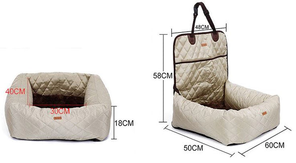 Dog Car Seat Bed Travel Dog Car Seats for Small Medium Dogs FrontBack Seat IndoorCar Use Pet Car Carrier Bed