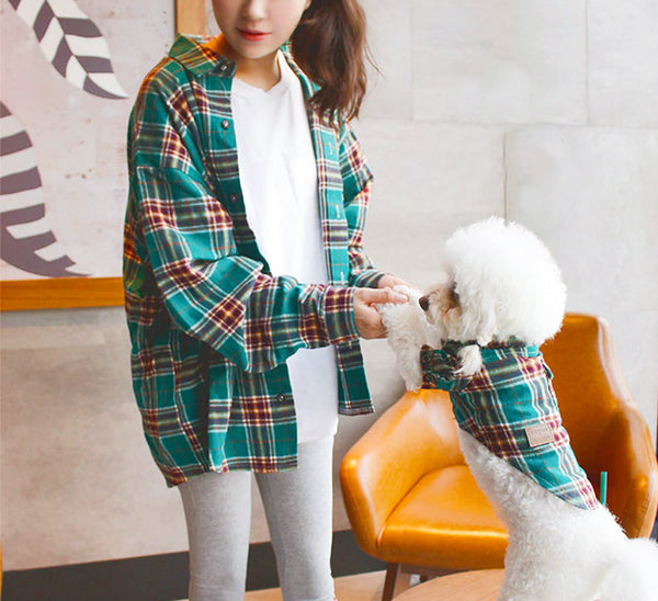 Furry Besties Matching Breathable Plaid Cotton Shirts