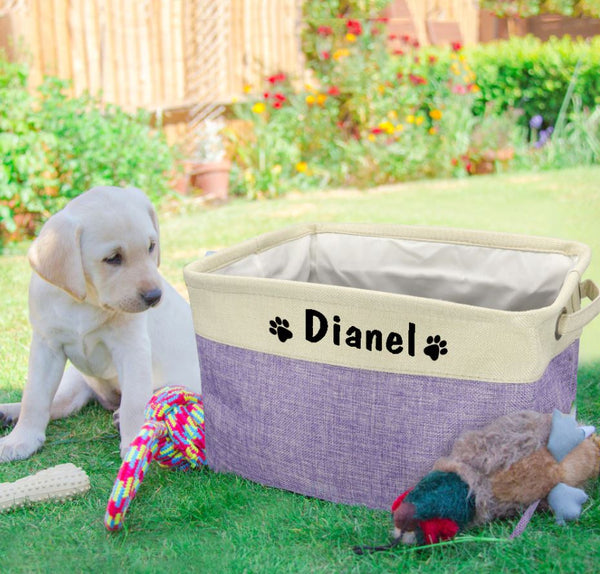 Personalized Dog Toy Basket Storage Box Free Print Name Storage Baskets For Dogs Clothes Pet Accessories