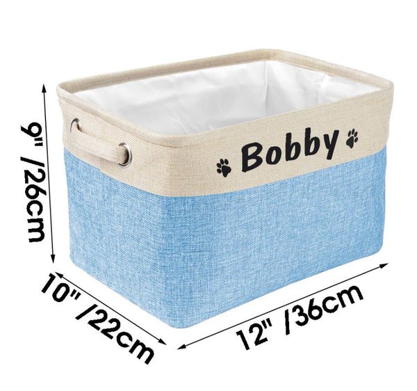 Personalized Dog Toy Basket Storage Box Free Print Name Storage Baskets For Dogs Clothes Shoes Pet Accessories-dimension