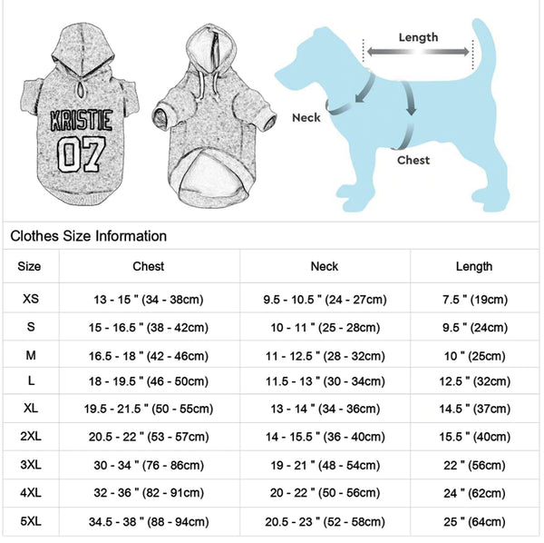 Personalized Pet Name Dog Hoodies For All Size Dogs-size info