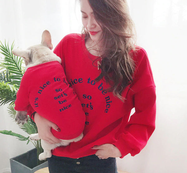 Pet & Owner Matching sweater-red