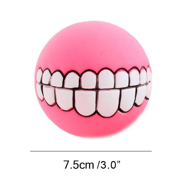 pink-Funny Pets Dog Puppy Cat Ball Teeth Toy PVC Chew Sound Dogs Play Fetching Squeak Toys Pet Supplies