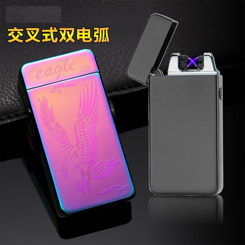 LINGAN Dual Arc Plasma Lighter USB Lighter Touch Switch Electric Creative Rechargeable Windproof Flameless Butane Free Lighter Good for Cigar,Cigarette