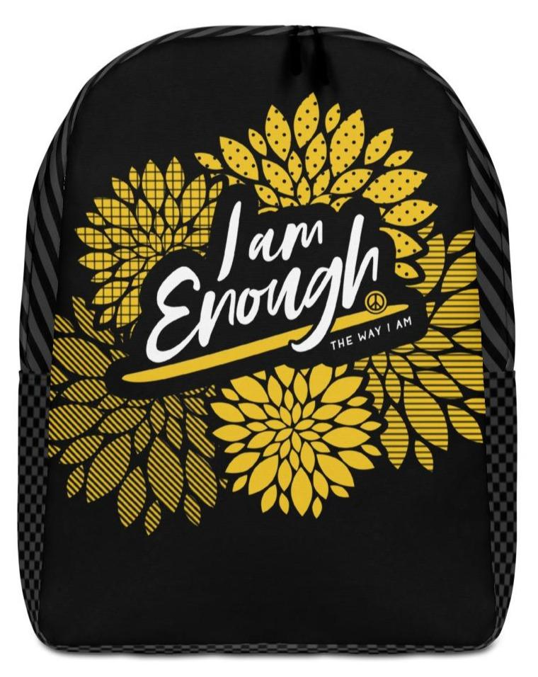 "I AM ENOUGH FLORAL BACKPACK - If you feel like you're carrying half of your belongings with you, then this I AM ENOUGH backpack is for you! Large inside pocket. Separate pocket for 15"" laptop. Hidden pocket with zipper on the back.     Your life's purpose and your dreams are limitless because you are Enough! Believe it. Live it. Wear it. Stand up and be counted! ❤"