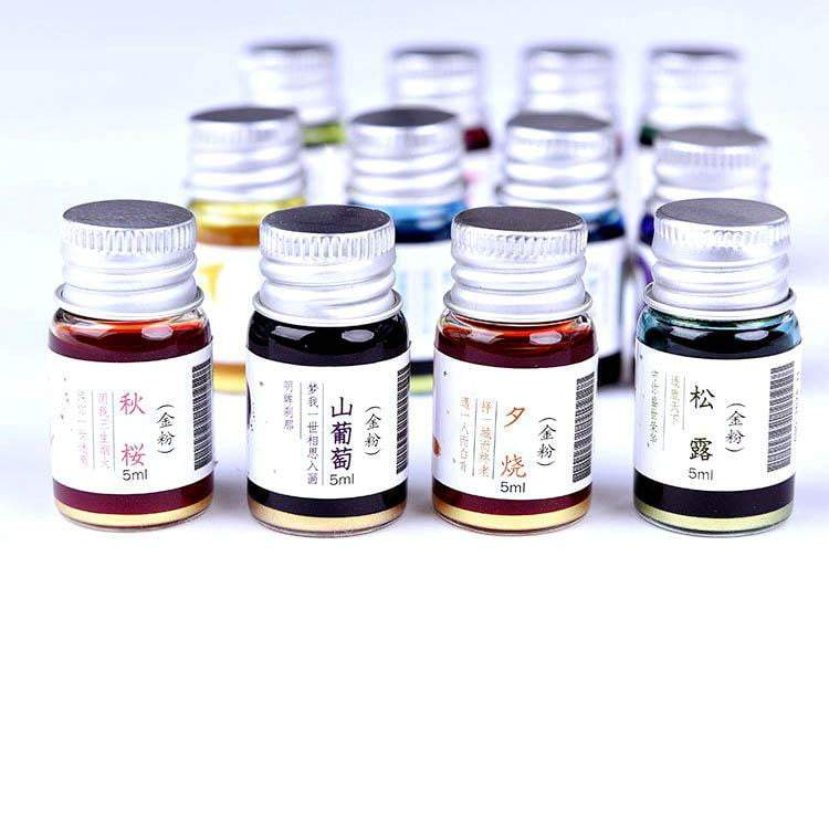 VintageArt™ 12-Piece Gold Powder Ink Set For Glass Pen