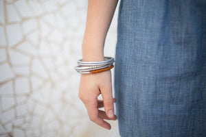 Bangles with Leather Wrap (set of 5)