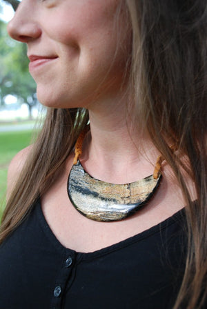 Half Moon Necklace with Braided Leather Cord by Atelier Calla