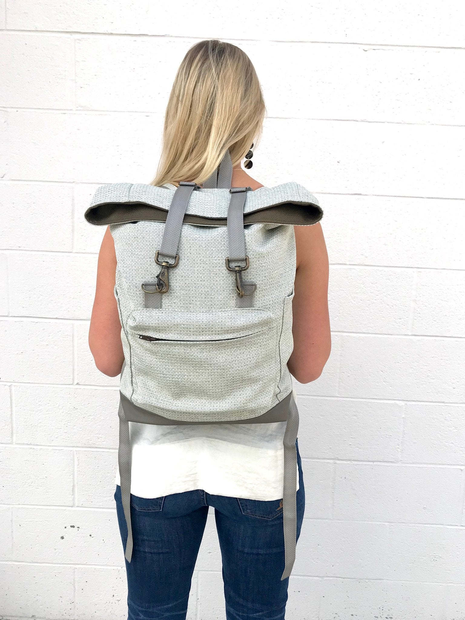 Fold-over Backpack - Vegan Leather Bottom