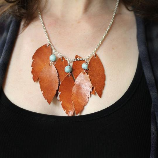 Leather Feathers Necklace