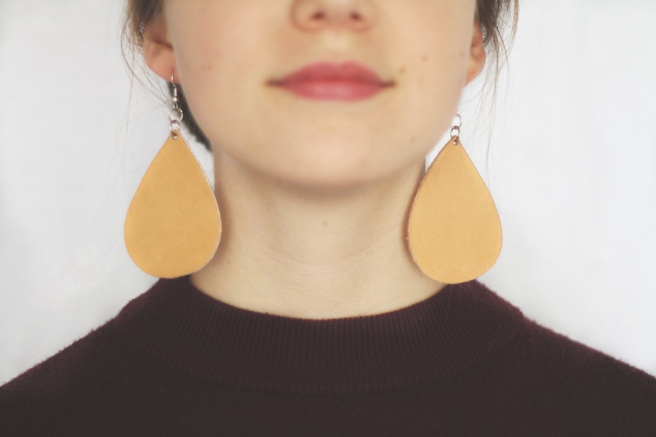 Natural Leather Drop Earring
