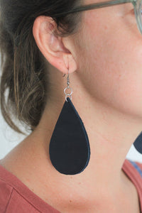Navy Blue Leather Drop Earring