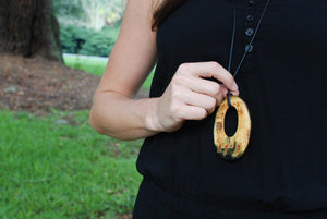 Oval Pendant Necklace with Black Cotton Cord by Atelier Calla