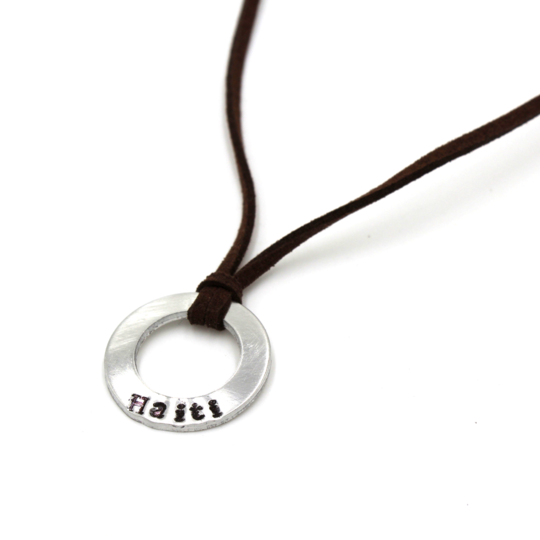 Brown Leather Small Washer Necklace