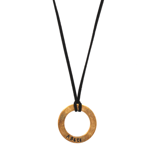 Black Leather Large Washer Necklace