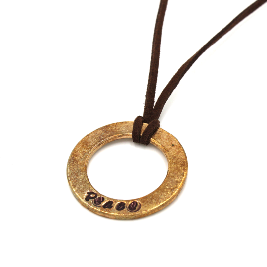 Brown Leather Large Washer Necklace