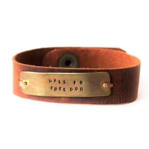 Walk in Freedom Leather Cuff