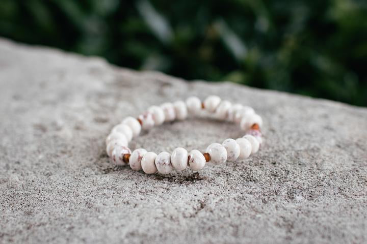 White Clay Bead Stackable Bracelet