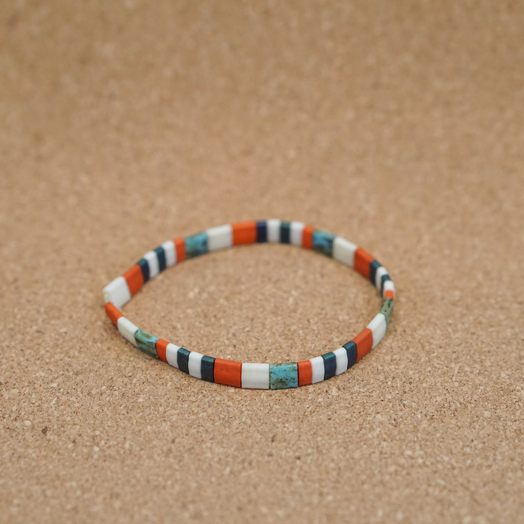 orange & turquoise - stretch tile bracelet