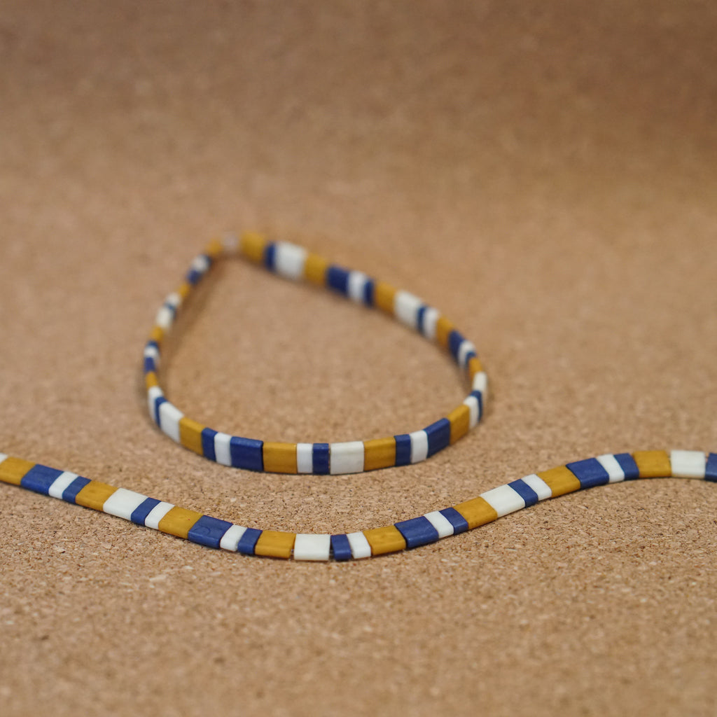 mustard & blue - stretch tile bracelet