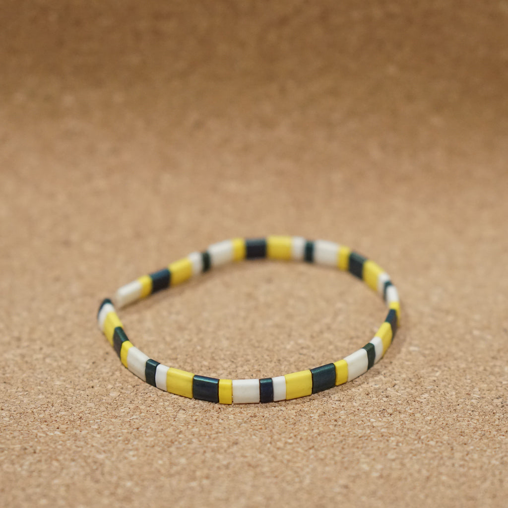 yellow & iris - stretch tile bracelet