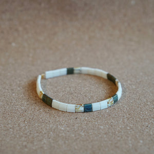 natural green - stretch tile bracelet
