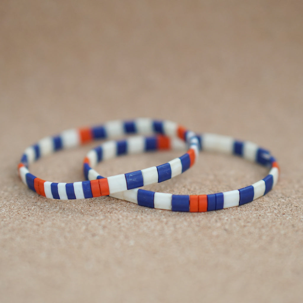 summer sail, bold - stretch tile bracelet