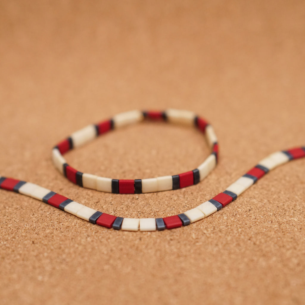red, gunmetal, & ivory - stretch tile bracelet